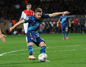 Aaron Ramsey scores his second goal for English Premier League Arsenal