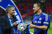 Chelsea manager Jose Mourinho celebrates with John Terry