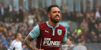 Striker Danny Ings celebrates scoring for Burnley