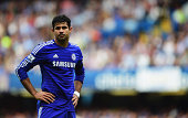 Chelsea striker Diego Costa watches on whilst in action for his English Premier League side.