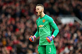 Goalkeeper David De Gea scores after Manchester United score a goal