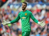 Manchester United goalkeeper David De Gea in action for his English Premier League side