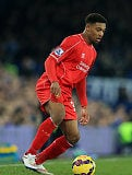 Winger Jordan Ibe in action for Liverpool during their English Premier League clash against Everton