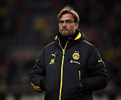 Borussia Dortmund manager Jurgen Klopp watches on prior to his side's friendly encounter