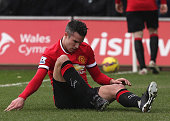 An injured Robin Van Persie looks dejected whilst in action for Manchester United