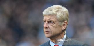 Arsenal manager Arsene Wenger watches on from the sidelines