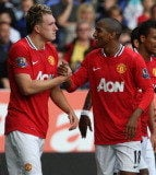 Defender Phil Jones and winger Ashley Young celebrate Manchester United's goal