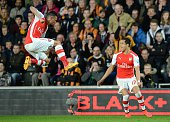 Sanchez of Arsenal celebrates their goal against Hull