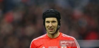 Petr Cech plays in goal for Chelsea