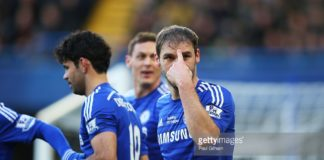 Branislav Ivanovic for Chelsea gestures to his loyal fans