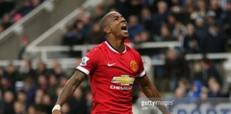 Forward Ashley Young whilst playing at Manchester United