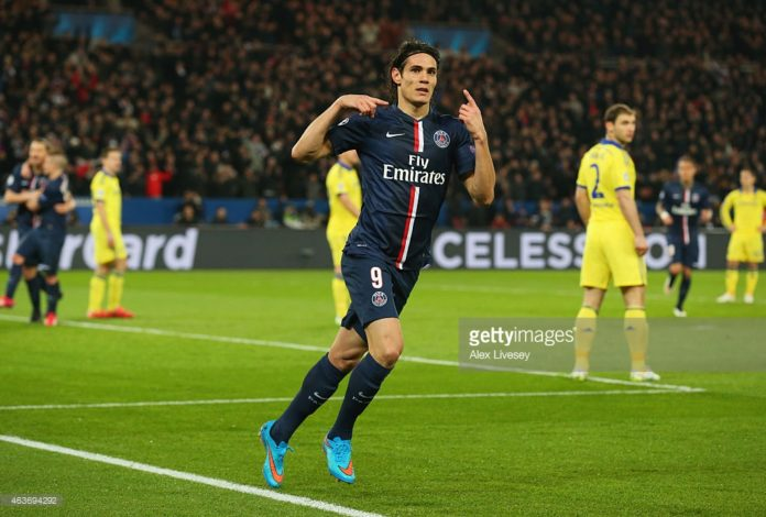 Edinson Cavani at PSG during his hugely influential spell