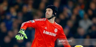 Petr Cech of Chelsea throws the ball to a team mate