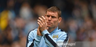 Midfielder James Milner at Manchester City applauding the crowd