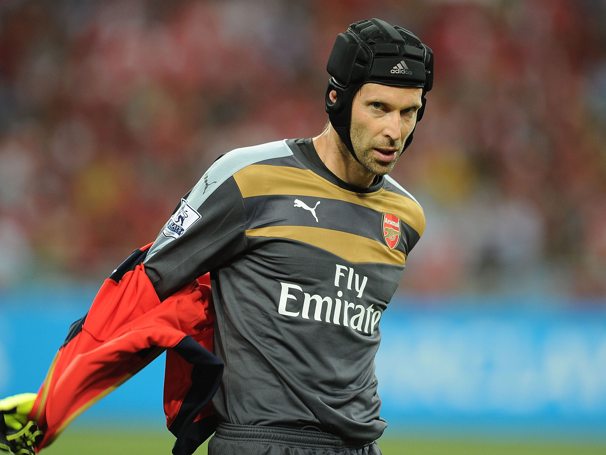 Cech-out: Arsenal's No1 goalkeeper was demoted to the bench for the Olympiakos defeat