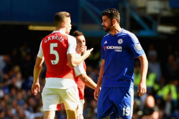 Anger management: Gabriel saw red after being provoked by Diego Costa