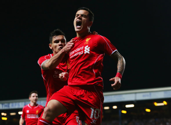Red hot: Philippe Coutinho inspired Liverpool's scintillating display at City