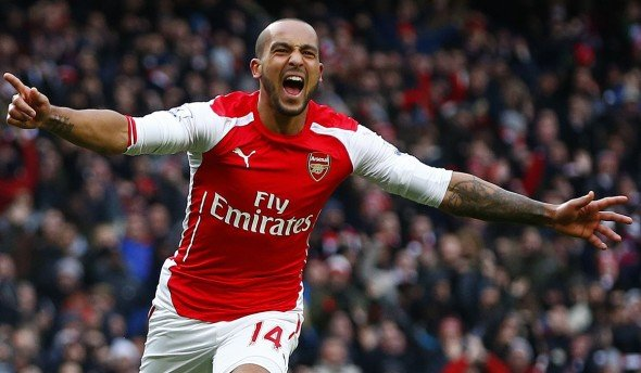 Red alert: Olivier Giroud has lost his regular starting role to Theo Walcott (pictured)