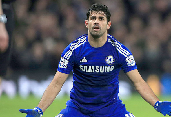 Moody blues: Diego Costa is equal top scorer with Willian this season