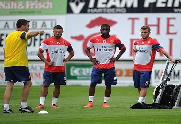 Training drill: Shad Forsythe guides the Arsenal players through a session