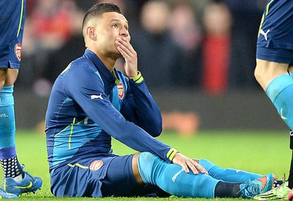 Laid out: Oxlade-Chamberlain will be sidelined for six to eight weeks