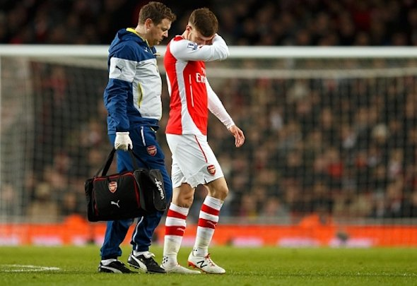 Injury blow: Ramsey suffered a thigh tear earlier this month