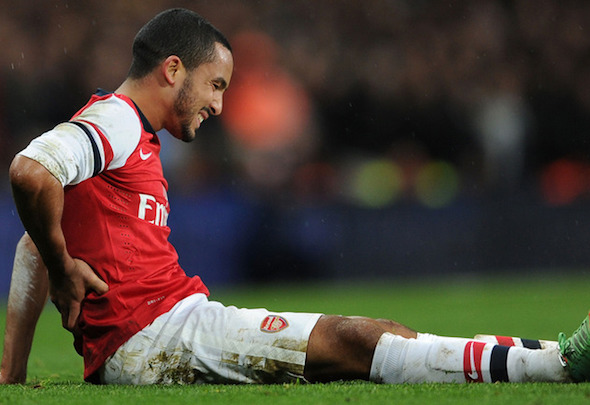 Injury blow: Theo Walcott is set to miss Arsenal's trip to Swansea on Saturday