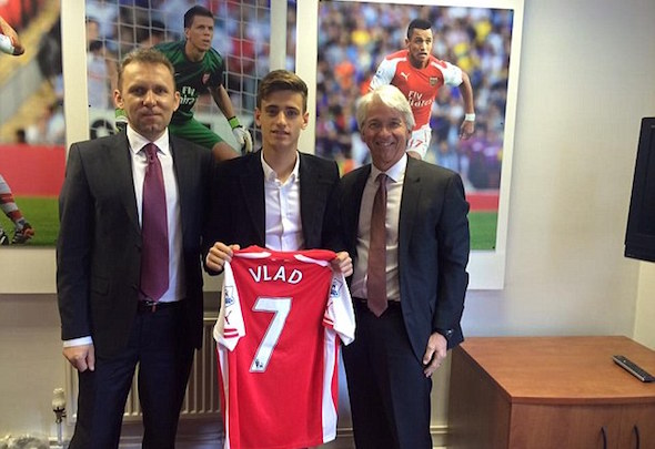 Young gun: Vlad Dragomir is pictured after signing for Arsenal in the summer