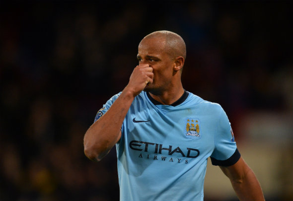 Sorely missed: City's defence are struggling to cope in the absence of Kompany