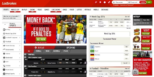 Ladbrokes Sports homepage