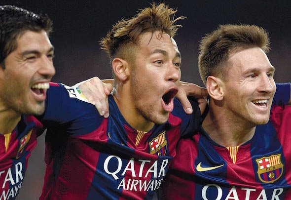 Triple joy: Neymar has flourished in a front three with Suarez and Messi