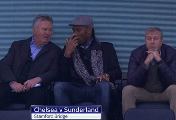 Didier Drogba was sat alongside Roman Abramovich and new manager Guus Hiddink at Stamford Bridge for the Sunderland match