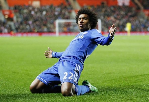 Chelsea midfielder Willian celebrates as he closes in on a new contract