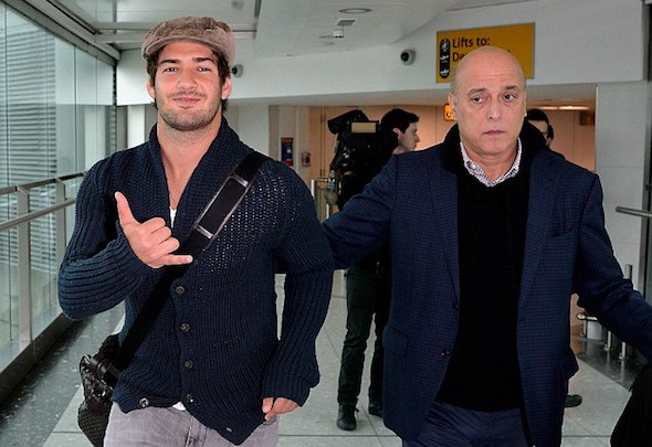 Alexandre Pato arrives at Heathrow before heading to Chelsea for a medical