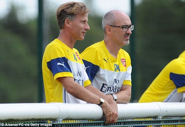 Arsenal academy chief Andries Jonker is joined by head of scouting Steve Morrow