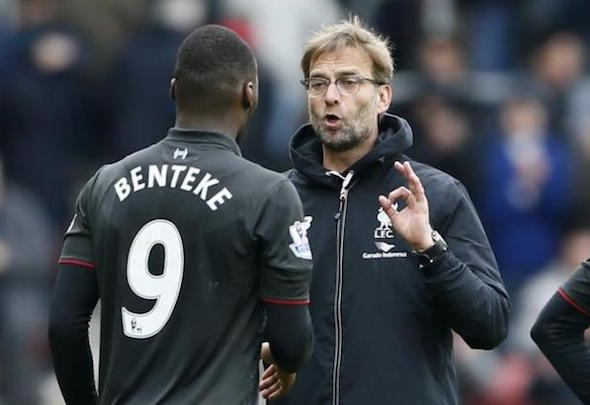 Jurgen Klopp appeared to criticise Christian Benteke in full view of fans and cameras