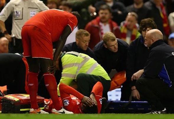 Divock Origi was stretchered off in the Merseyside derby