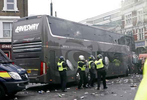 The Manchester United bus was attacked by West Ham fans