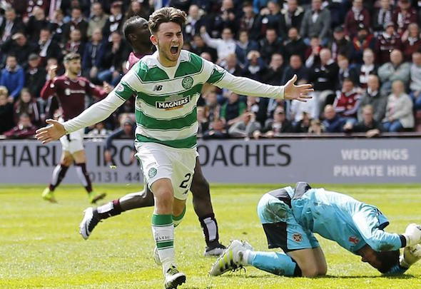 Patrick Roberts celebrates scoring for Celtic
