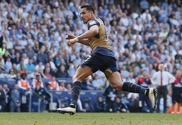 Alexis Sanchez celebrates scoring for Arsenal