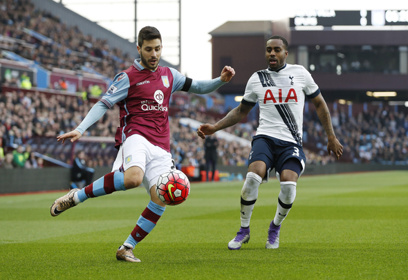 "Football Soccer - Aston Villa v Tottenham Hotspur - Barclays Premier League - Villa Park - 13/3/16 Tottenham's Danny Rose in action with Aston Villa's Carles Gil Action Images via Reuters / John Sibley Livepic EDITORIAL USE ONLY. No use with unauthorized audio, video, data, fixture lists, club/league logos or ""live"" services. Online in-match use limited to 45 images, no video emulation. No use in betting, games or single club/league/player publications.  Please contact your account representative for further details."