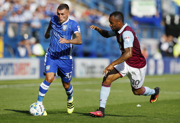 Football Soccer Britain - Sheffield Wednesday v Aston Villa - Sky Bet Championship - Hillsborough - 7/8/16 Sheffield Wednesday's Jack Hunt in action with Aston Villa's Jordan Ayew Mandatory Credit: Action Images / Jason Cairnduff Livepic EDITORIAL USE ONLY.