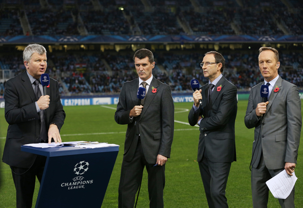 Football - Real Sociedad v Manchester United - UEFA Champions League Group Stage Matchday Four Group A - Anoeta Stadium, San Sebastian, Spain - 13/14 , 5/11/13 ITV's Adrian Chiles with Roy Keane, Martin O'Neill and Lee Dixon Mandatory Credit: Action Images / Peter Cziborra   EDITORIAL USE ONLY.