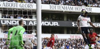 Victor Wanyama powers home a header for his English club Tottenham