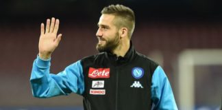 Leonardo Pavoletti waves to the fans of his Italian club Napoli