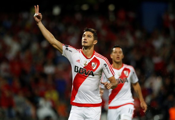 Lucas Alario celebrates scoring a goal for his Argentinian club River Plate