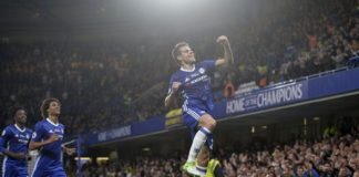 Cesar Azpilicueta celebrates scoring a goal for English Premier League side Chelsea