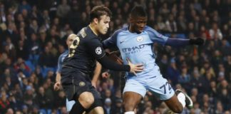 Kelechi Iheanacho of Manchester City takes a shot at goal