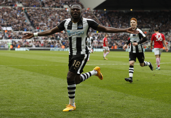 Chancel Mbemba of Newcastle celebrates scoring a goal