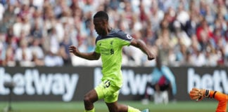 Daniel Sturridge runs through on goal for his English club Liverpool